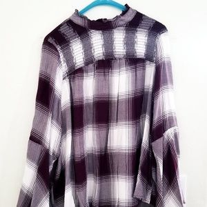 Plad long sleeved blouse